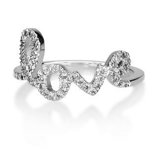 טבעת love - זהב לבן 14K