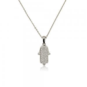 שרשרת יהלומים חמסה לגבר - זהב לבן 14K