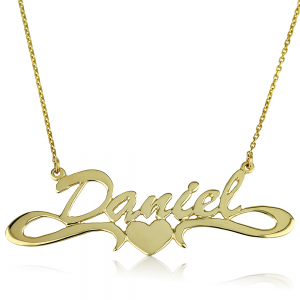 שרשרת שם בעיצוב אישי עם לב - זהב 14K