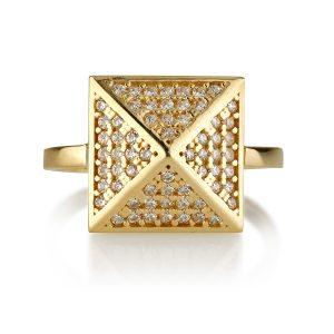 טבעת זהב Pyramid - זהב 14K