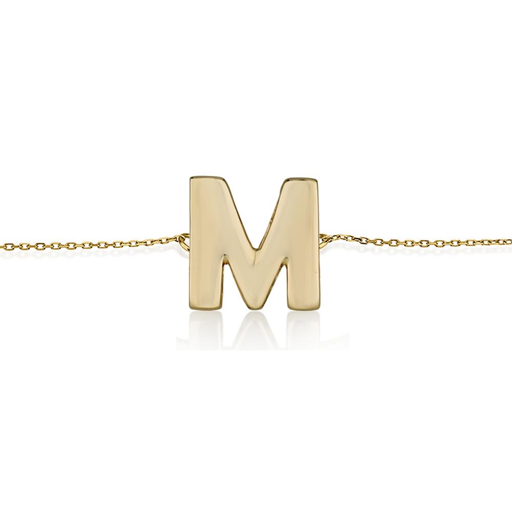 צמיד זהב עם אות בעיצוב אישי- זהב 14K