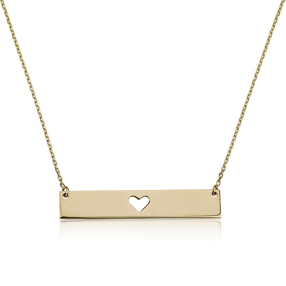 שרשרת חריטה מלבנית עם לב - זהב 14K
