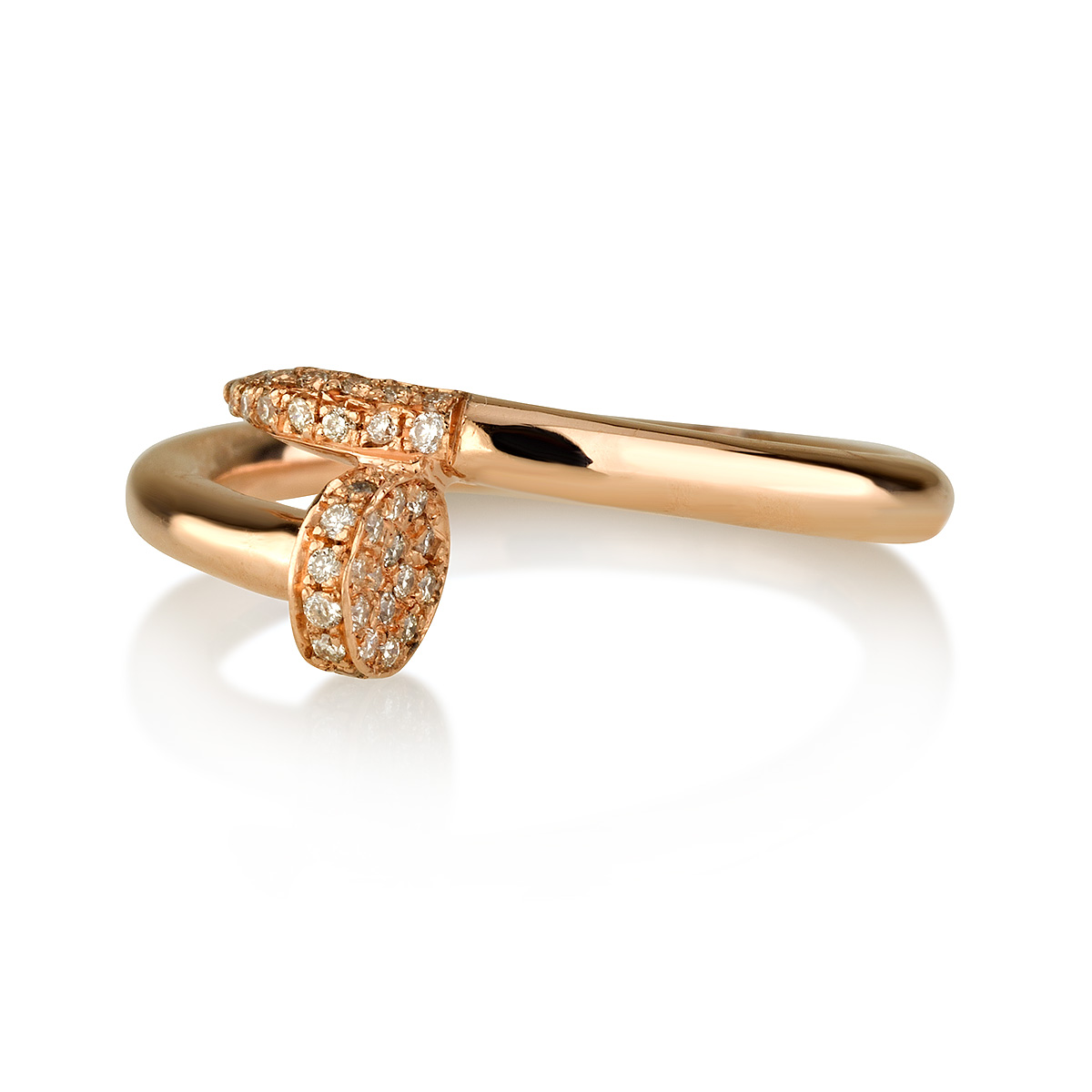 טבעת יהלומים מסמר - זהב 14K