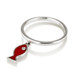 טבעת פיש – זהב 14K -קולקציית coloruful-טבעת יהלומים-טבעת אמייל