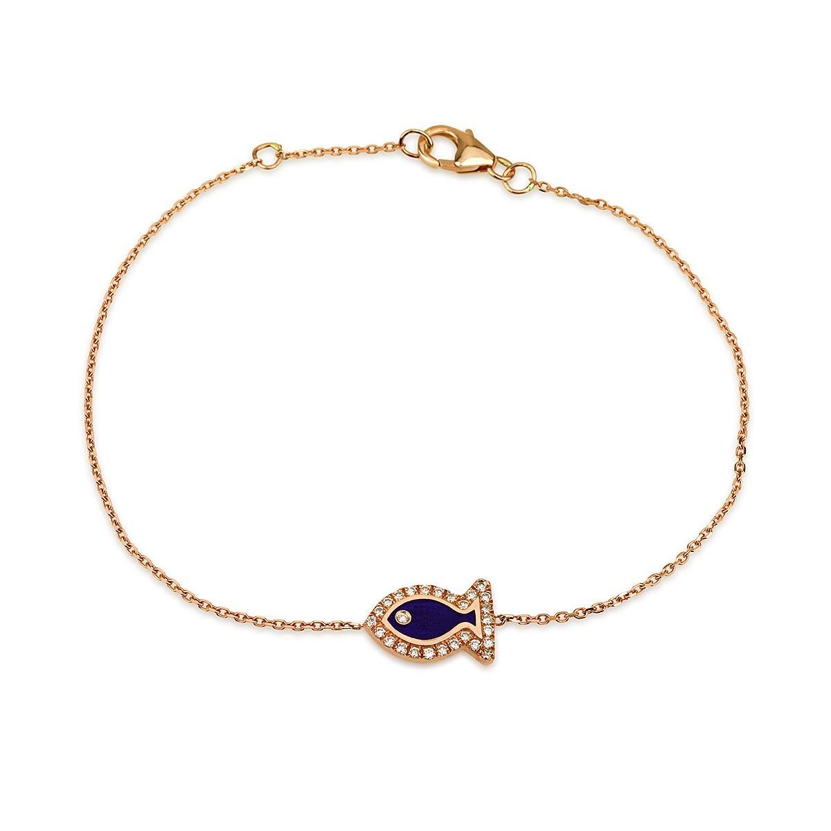 צמיד יהלומים קולרפול FISH - זהב 14K