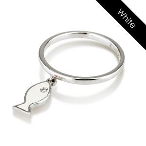 טבעת יהלום פיש ואמייל- זהב 14K