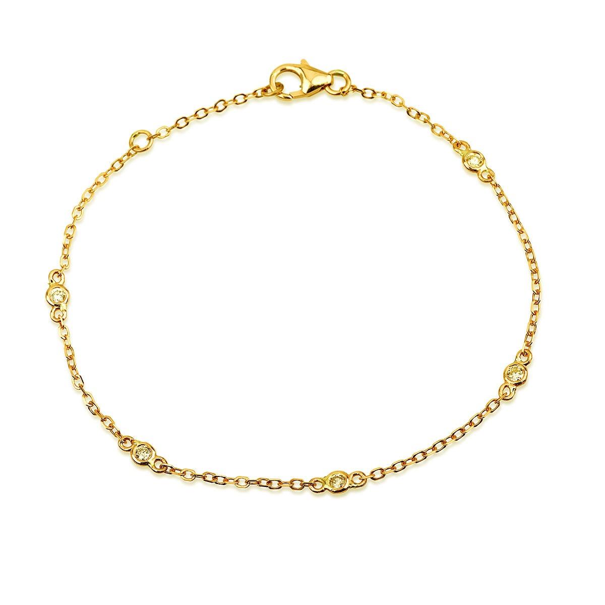 צמיד נטיפי יהלומים - זהב 14K