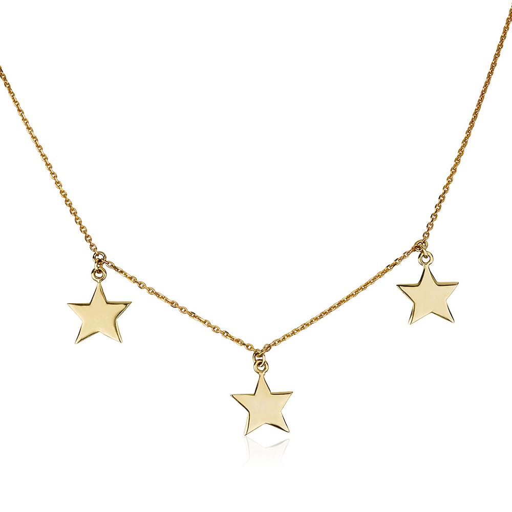 שרשרת שלישיית כוכבים - זהב 14K