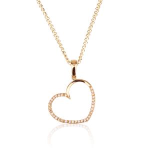 שרשרת יהלומים Big Heart - זהב 14K