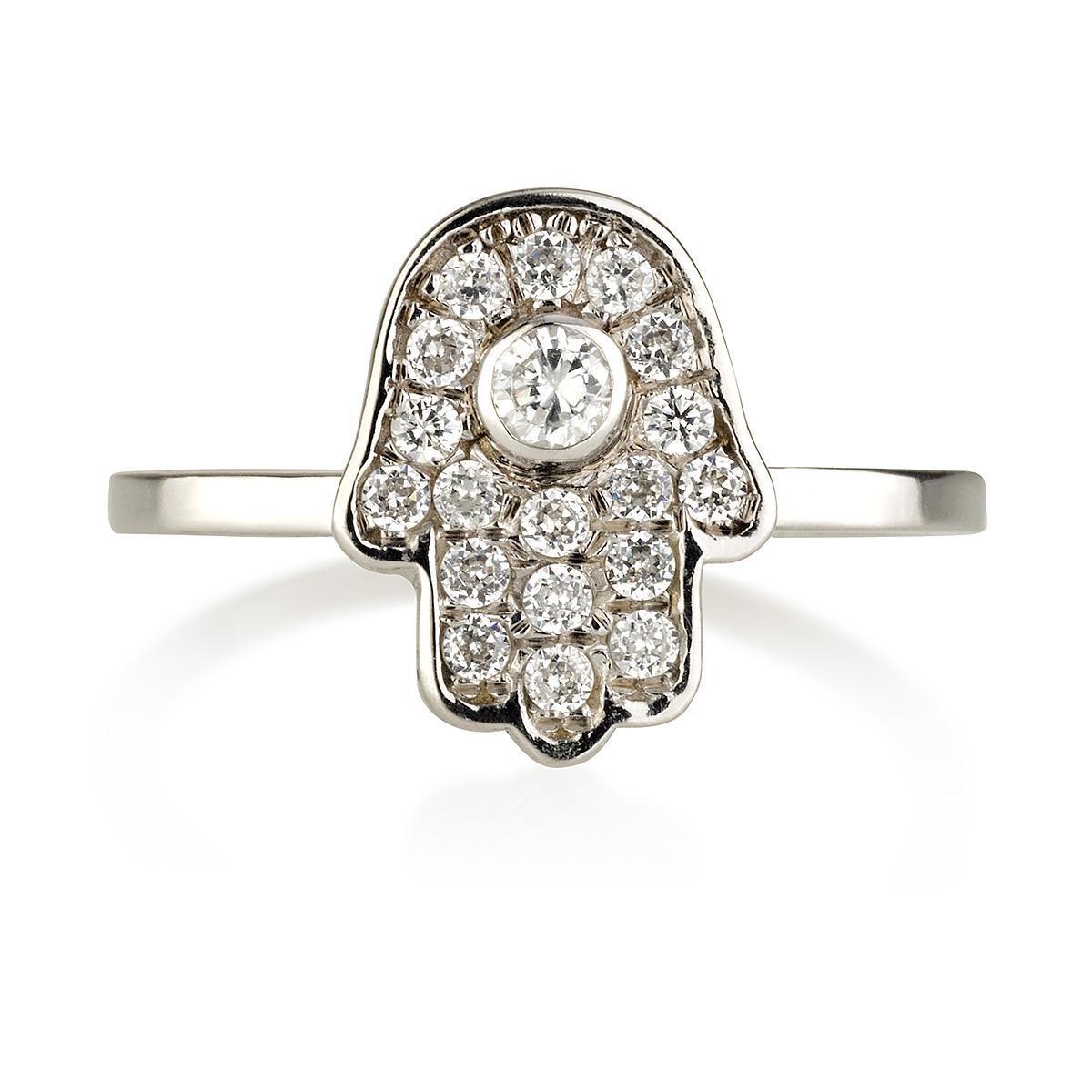 טבעת מיני חמסה - זהב לבן 14K
