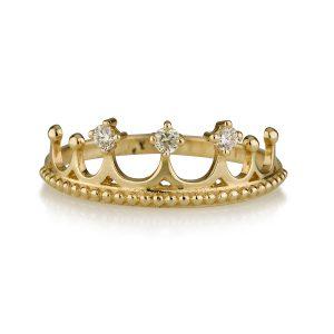 טבעת יהלומים פרינסס - זהב 14K