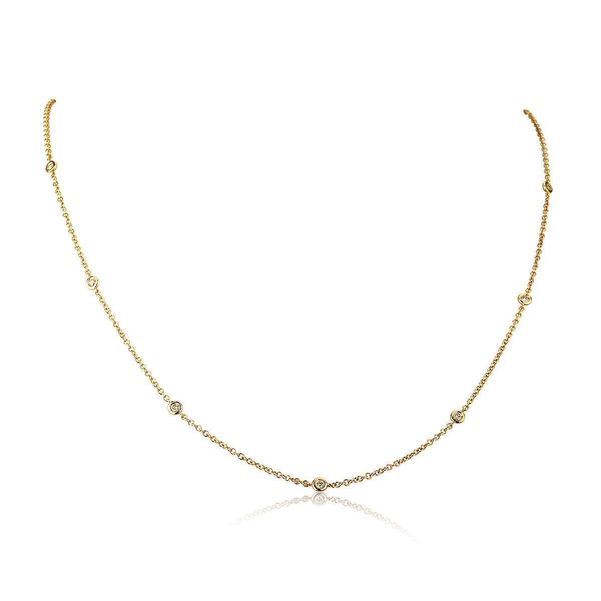 שרשרת יהלומים נטיפים - זהב 14K