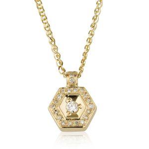שרשרת יהלומים מחומשת - זהב 14K