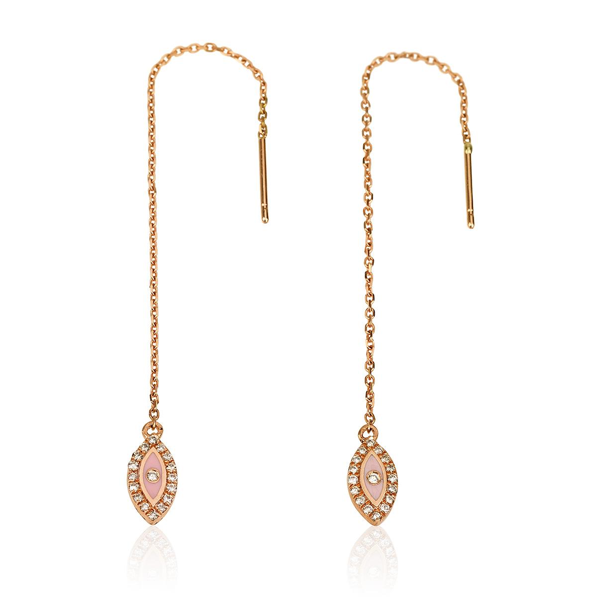 עגילי יהלומים קולרפול EYE - זהב 14K