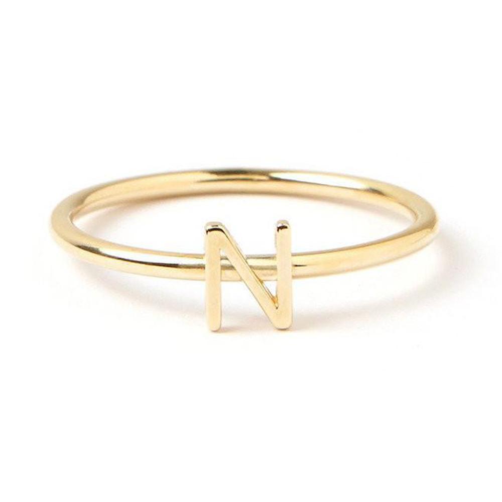 טבעת זהב מיני אות - זהב 14K