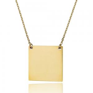 שרשרת חריטה ריבוע - זהב 14K