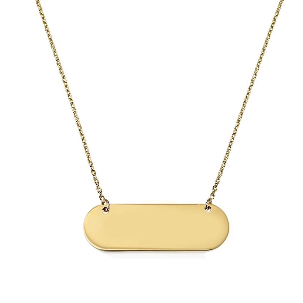 שרשרת חריטה פלטה מעוגלת - זהב 14K