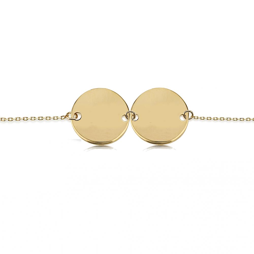 צמיד חריטה מטבע כפול - זהב 14K