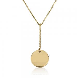 שרשרת חריטה מטבע נופל - זהב 14K