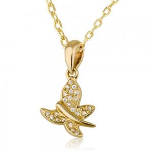 שרשרת יהלומים בייבי פרפר - זהב 14K