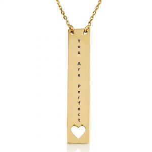 שרשרת חריטה פלטה מאורכת עם לב - זהב 14K