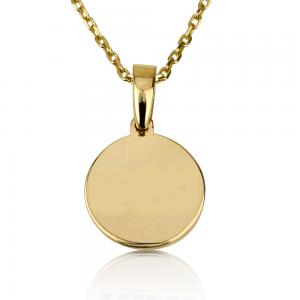 שרשרת חריטה לגבר מטבע קטן - זהב 14K