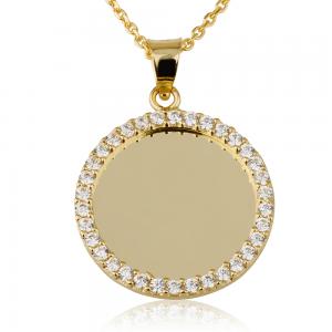 שרשרת חריטה מטבע גדול שיבוץ חיצוני  - זהב 14K