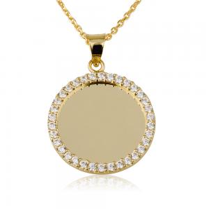 שרשרת חריטה מטבע קטן עם שיבוץ חיצוני- זהב 14K