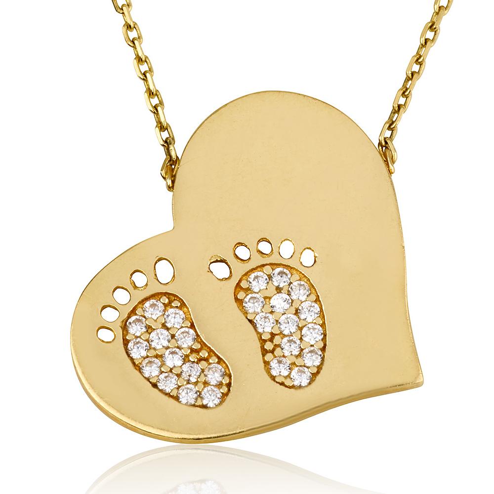 שרשרת חריטה Baby Feet - זהב צהוב 14K