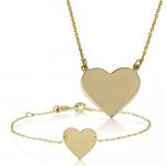 תליון וצמיד זהב לבבות