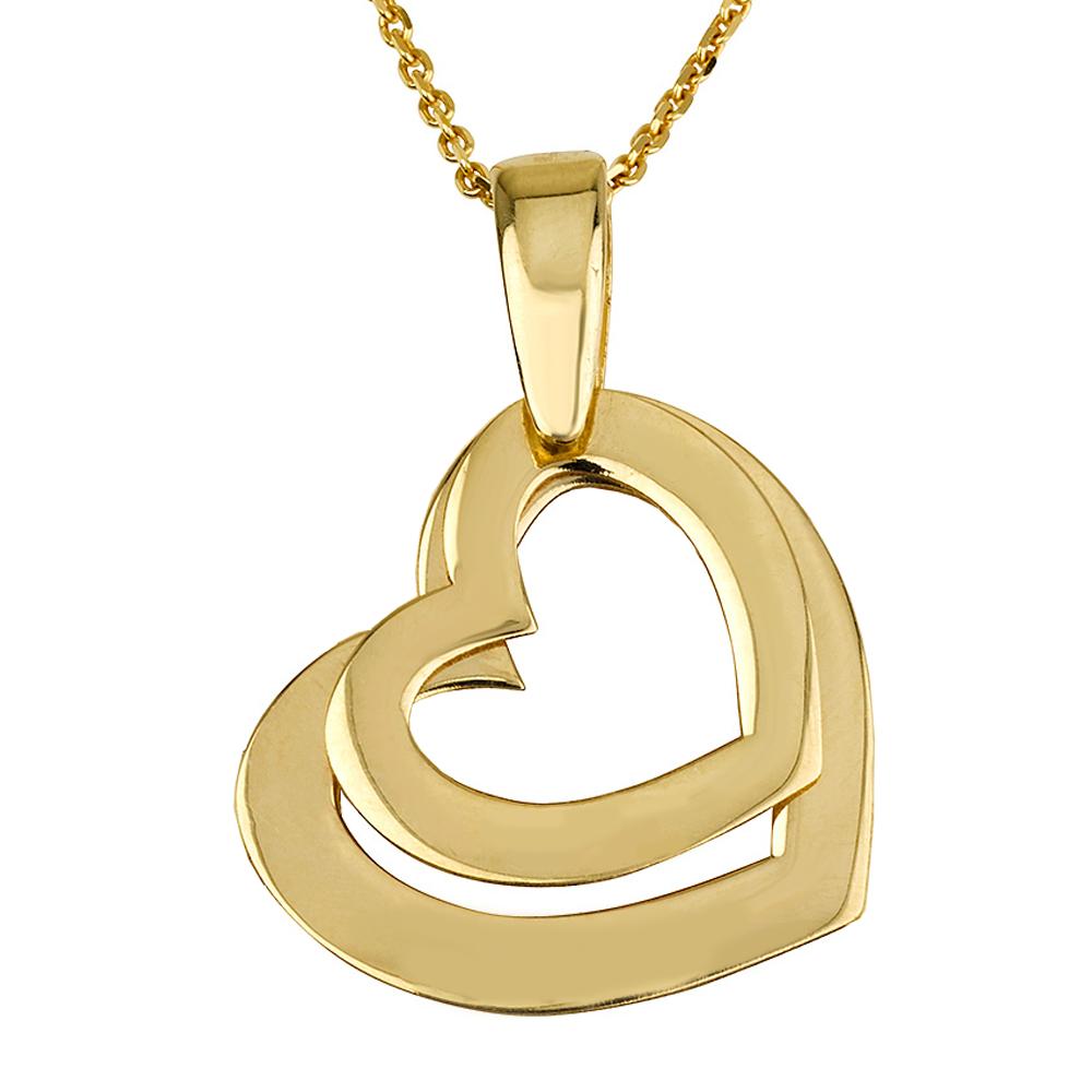 שרשרת חריטה לבבות דאבל - זהב 14K