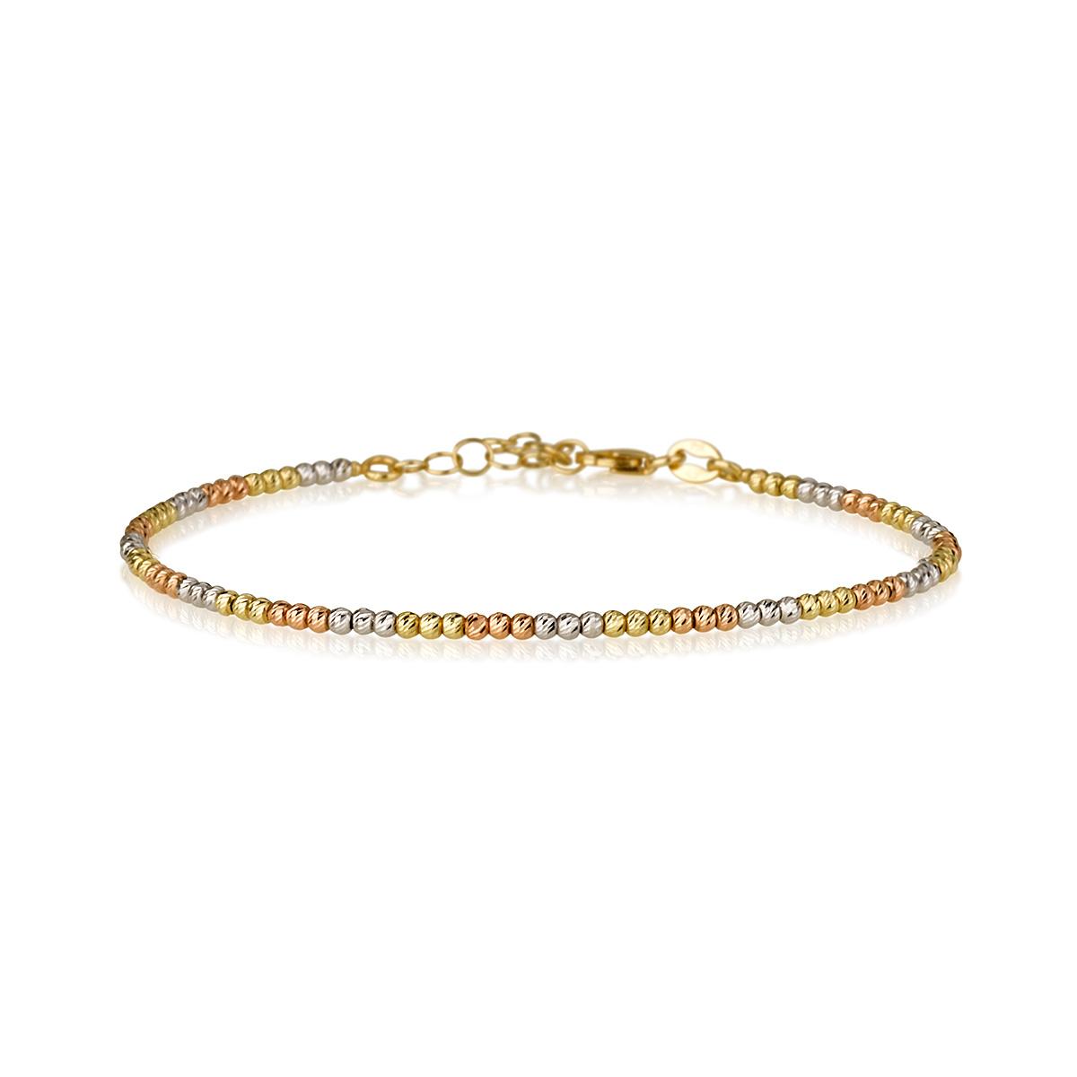 צמיד כדורים חיתוכי לייזר משולב 3 צבעים- זהב 14K - צמידי זהב מעוצבים