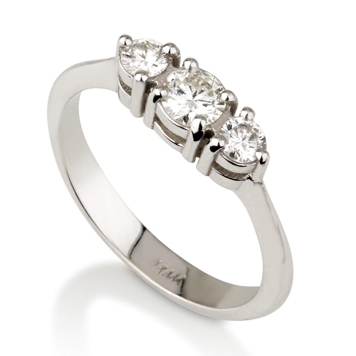 טבעת יהלומים טריפל אפקט - זהב 14K