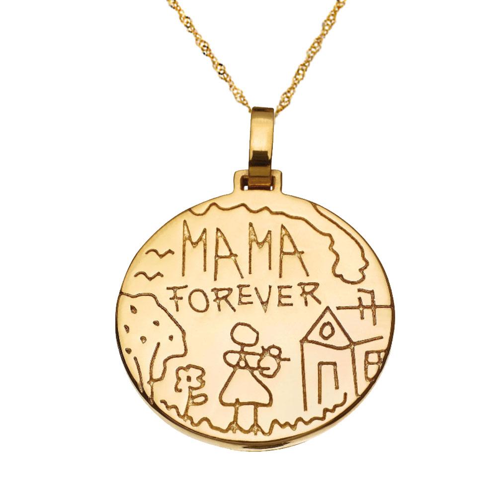 שרשרת חריטה מטבע Mama Forever - זהב 14K