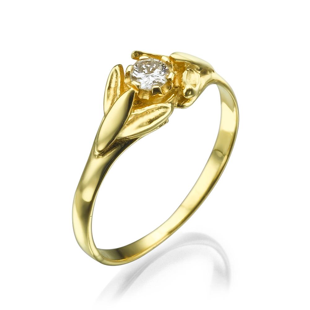 טבעת יהלום אלה - טבעת זהב 14K