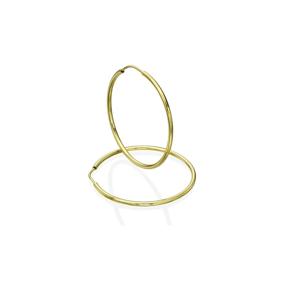 עגילי חישוק בייסיק - זהב צהוב S