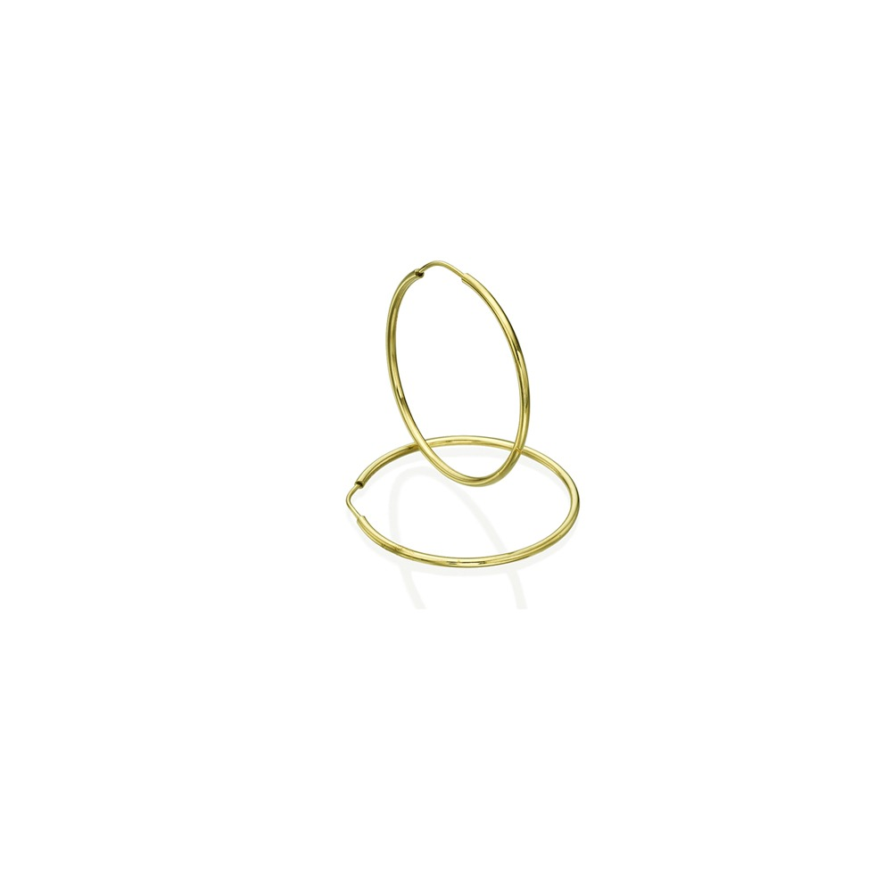 עגילי חישוק בייסיק - זהב צהוב XS
