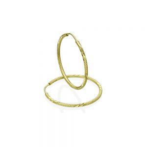 עגילי חישוק מעוטרים - זהב צהוב S