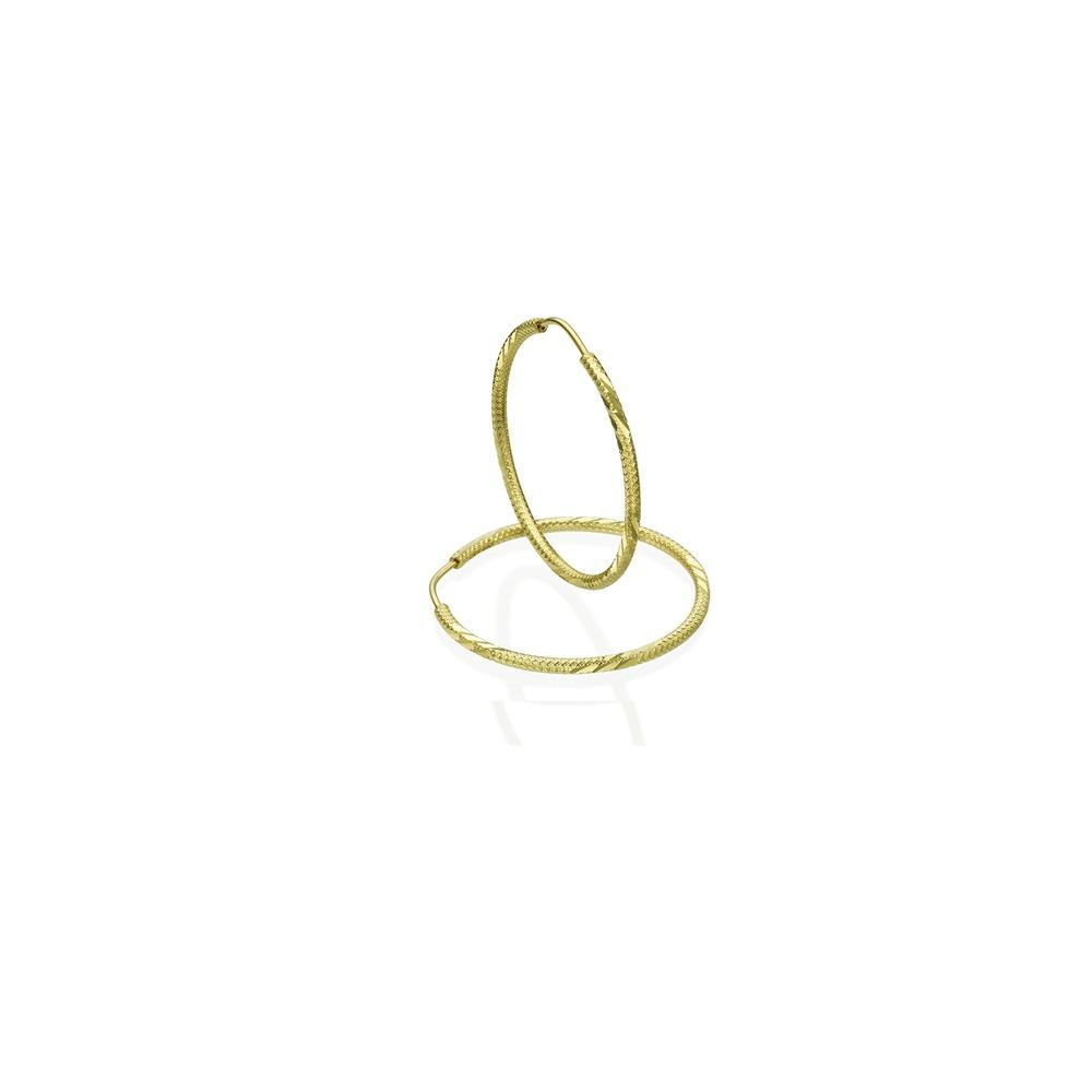 עגילי חישוק מעוטרים - זהב צהוב XS