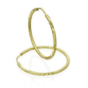 עגילי חישוק מעוטרים - זהב צהוב L