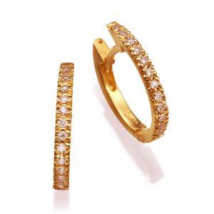 עגילי יהלומים - עגילי חישוק עם יהלומים