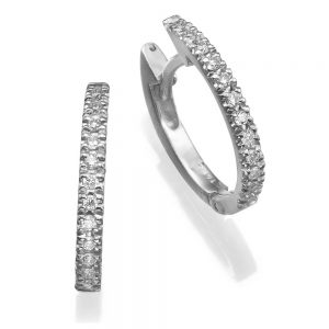 עגילי חישוק יהלומים - עגילי יהלומים