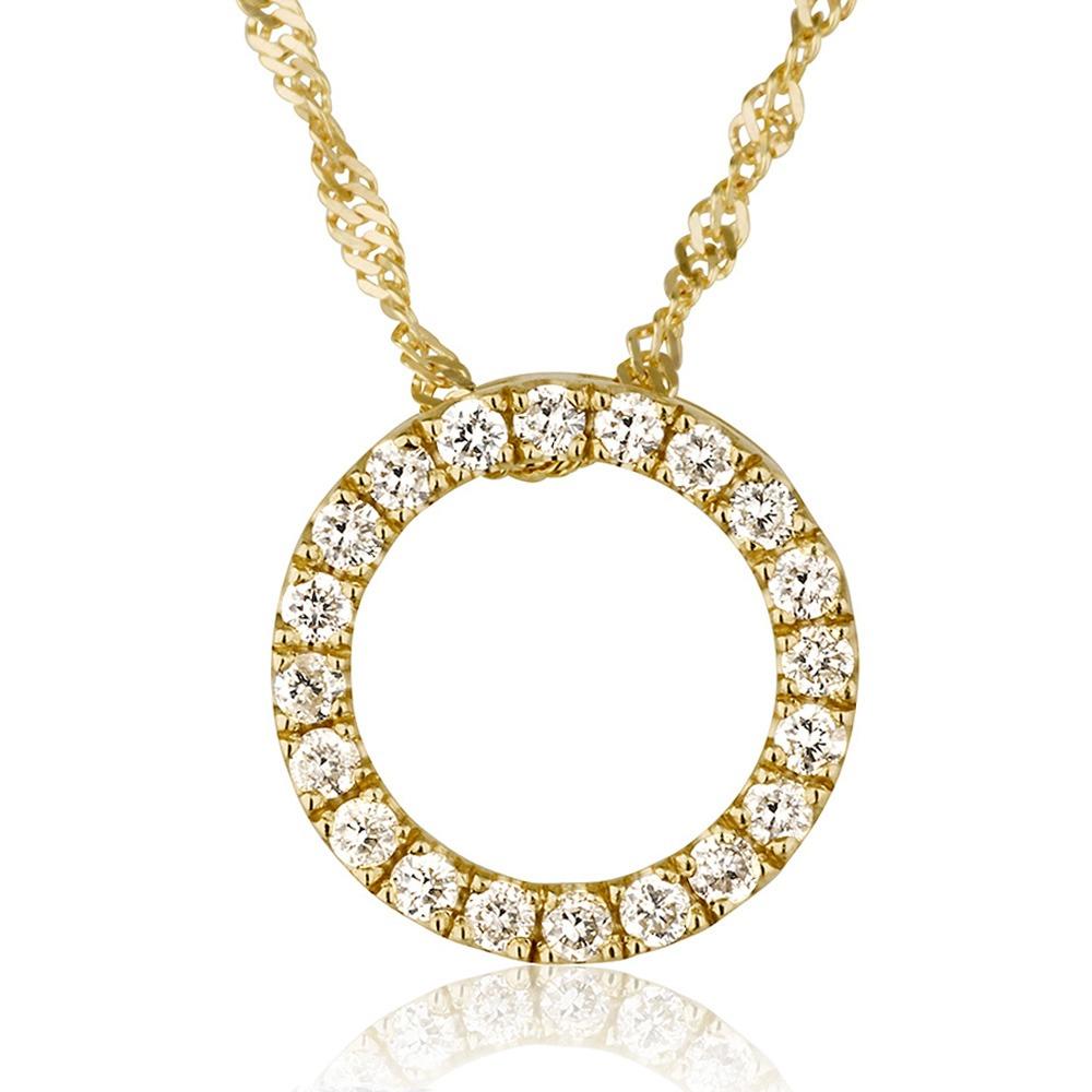 שרשרת יהלומים טייני סירקל - זהב 14K