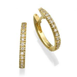 עגילי יהלומים בייסיק ליין זהב 14K