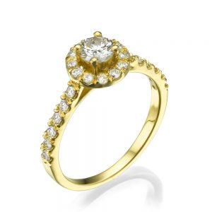 טבעת אירוסין שמש - זהב 14K