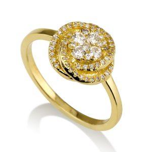טבעת אירוסין פלור  - זהב 14K