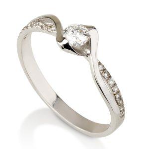 טבעת אירוסין טוויסט משולב  - זהב 14K