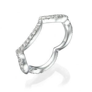 טבעת יהלומים גלים מעוטרים  - זהב 14K