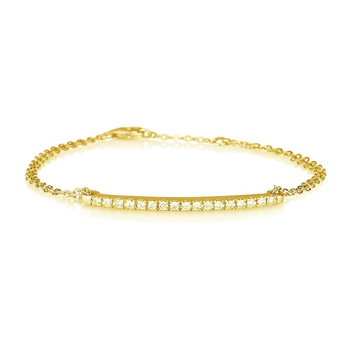 צמיד פס משובץ יהלומים  - זהב 14K