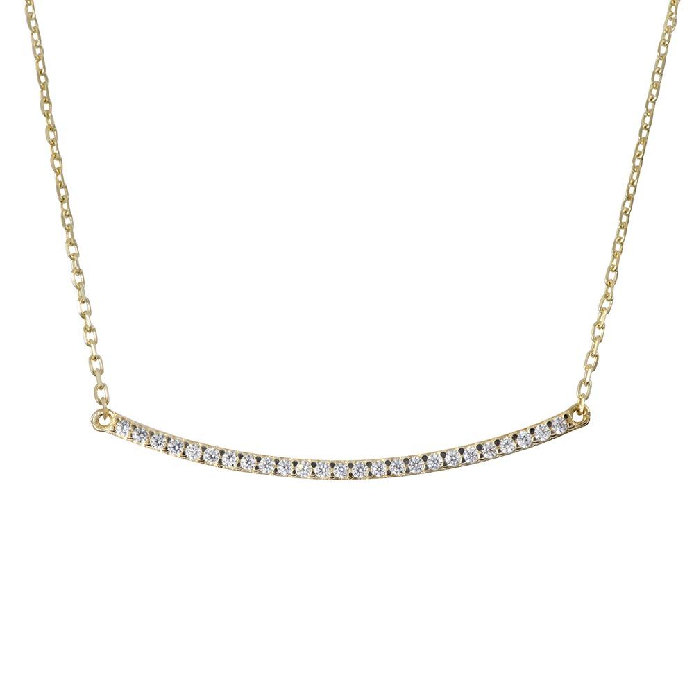 שרשרת פס משובץ יהלומים  - זהב 14K